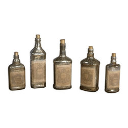 Uttermost - Uttermost Traditional Recycled Bottle X-45791 - Recycled mercury style glass bottles with artwork adorned to front and cork stoppers. Each set of five will be in the same size range but as bottles are recycled they will be different bottles each time. Sizes will range from 6 inches to 12 inches tall.