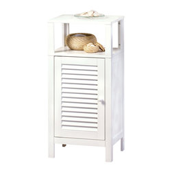 """KOOLEKOO - Nantucket Shelf Cabinet - Don't hide those lovely towels and soaps! This """"decorator's dream"""" bathroom cabinet comes complete with a storage compartment at bottom and an open shelving system on top for display or easy access."""