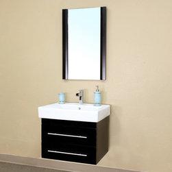 Bellaterrra - Bellaterra 203102 24.25 In Single Wall Mount Style Sink Vanity-Wood-Black - 24.2 - Bellaterra 203102 24.25 In Single Wall Mount Style Sink Vanity-Wood-Black  - 24.25x18.9x20 in.