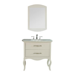 "Stufurhome - 37"" Elizabeth Single Sink Vanity with Italian Carrara Marble Top - A marvelous bathroom accessory with four door storage space and 5 functional drawers"