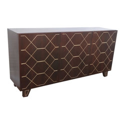 Coast To Coast - Coast To Coast - Three Door Sideboard In Kota Espresso And Gold Inlay - 63117 - Make a statement while creating a grand place for entertainment with our three door sideboard in rich Kota Espresso and Gold Inlay. The artfully patterned doors open to reveal fixed shelving for storing your prized linens and silver, or any thing you want close at hand.