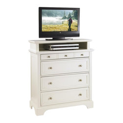 Home Styles - Home Styles Naples TV Media Chest White Finish - Home Styles - TV Stands - 5530041 - Home Styles Naples Media Chest is constructed of Asian hardwood and engineered wood in a rich white finish. Features include four large drawers. Top drawer measures 28w 13d 2h the remaining drawers measure 28w 13d 6.5h .Item measures: 36w 16.5d 42h. Brushed Nickel Hardware.
