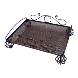 Iron Artistica - Iron Artistica Scroll Serving Tray - Deocorative, practical and charming are just a few ways to describe this delightful serving tray from Iron Artistica. The beautiful bronze rust finish is the perfect accent to the wonderful scroll design and mesh top. This is both a practical item to serve refreshments during parties, and great for display as well. Limited stock left.