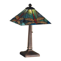 Meyda Tiffany - Meyda Tiffany Animals Table Lamp in Copperfoil - Shown in picture: Prairie Dragonfly Table Lamp; Scarlet Dragonflies With Ruby Eyes Dive Downward Against A Cloud Filled Aurora Midnight Sky Streaked With A Full Spectrum Of Colors. The Exceptional Stained Art Glass Used In This Family Has Unique Tones In Each Piece - Just As In Nature. Each Piece Of Glass Is Hand Cut And Copper Foiled In The Tiffany Tradition. The Mission Style Square Shade Is Supported By A Complimentary Table Lamp Base In A Mahogany Bronze Finish.