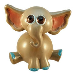 Adorable Bobble Head Elephant Money Bank Piggy - This adorable cold cast resin bobble head elephant figurine doubles as a piggy bank. The elephant measures 5 inches tall, 4 1/4 inches wide and 4 1/4 inches deep. The bank empties via a twist off plastic piece on the bottom. He is hand-painted, and makes a great gift for elephant fans.