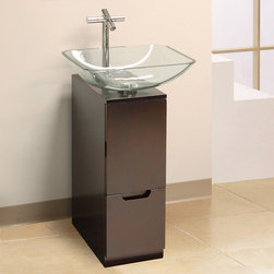 "BathAuthority LLC dba Dreamline - Modern 10"" Bathroom Vanity (Mahogany) with Mirror & Sink - This vanity combination from DreamLine proves that sometimes less is more. The compact design of the modern vanity offers smart storage features to maximize space. A unique square tempered glass vessel sink and matching wall mirror finish the vanity set."