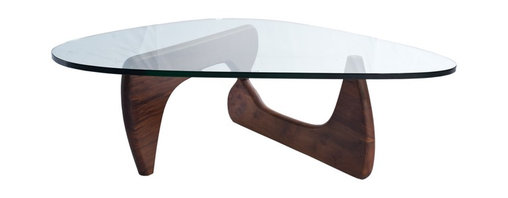 Lemoderno - Tribeca Coffee Table By Lamoderno, Dark Walnut Solid Wood Base - This table consists of three basic parts: a beautiful glass top and two interlocking solid wood base pieces. This classic design was first produced in 1944. This item is a high quality reproduction of the original.