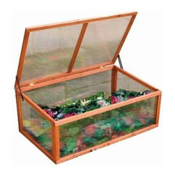 "Advantek Cold Frame Greenhouse - Part of the """"Gone Green"""" outdoor product line the Advantek Cold Frame Greenhouse is a superior sanctuary for shrubs sprouts seedlings … or whatever your green thumb desires. Sporting a durable design this greenhouse is equipped to handle the outdoors with non-toxic rot-proof Fir lumber that repels insects. UV-proof polycarbonate walls and a waterproof roof provide added endurance and an insulating feature conserves cool in the summer and warmth in the winter. Its hardware is galvanized to prevent rust. With no bottom floor panel this greenhouse is well-suited for outdoor use."