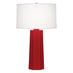 Robert Abbey - Mason Table Lamp, Ruby Red - Chiseled isn't just for abs anymore. Bring this contemporary lamp home to get the sculpted lines you've always wanted without even breaking a sweat. Its shapely ceramic base and broad cylindrical shade are sure to attract attention.