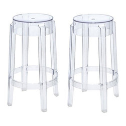Ariel - Set of 2 Victoria Style Ghost Bar Stool Clear Color - Perfect for the impromptu cookout or an afternoon tea for two, this set of 2 Victoria Style Ghost Stools is a sure attention grabber that will add sophistication to your kitchen, bar, or game room area. Also great for the aspiring artist working on crafts. The ghost stool is made of high quality polycarbonate composition which gives it a more solid, rigid feel when compared to regular polypropylene chairs.