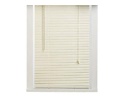 "Achim - 4 Pack of Alabaster Vinyl 1"" Mini Blinds [37-48""] - Buy in bulk and Save!! By buying sealed case packs of the blinds that you need, you will save an average of 20-40% off of Amazon's prices . This deal cannot be passed up! Case include 4 blinds. These blinds will fit 1/2"" wider and 3/8"" smaller than stated size. The head rail will measure 1/2"" less than stated size. Lead free PVC Vinyl construction. Includes a slat type valance. Installation harware included. These blinds can be shortened, the instructions to do so are enclosed. Very easy cleaning."