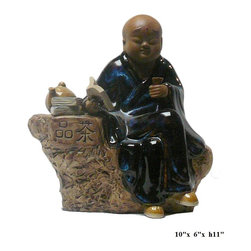 "Chinese Kid Lohon Drinking Tea Ceramic Figure - Dimensions: w10"" x d6"" x h11"""