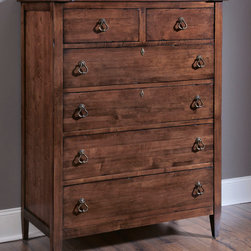 American Drew - American Drew Miller's Creek 6 Drawer Chest in Cherry - The large six legged dresser with a double bank of solid wood drawer fronts pairs with a three drawer nightstand and a panel bed with finals and overlay moldings. A bachelor's chest with a gently curved front adds a touch of shape, along with the button tufted linen upholstered sleigh headboard. Interchangeable footboards allow optional looks with both headboards. The drawer chest features dividers for more organized storage, while the media chest offers a range of flexible storage. The rich, aged cherry finish has a clean, soft appeal, with moderate distressing. The rustic veneers and solids provide variations and visual interest to the simple lines of the pieces. The hardware consists of an antique brass ring pulls, knobs, and key escutcheons. - 210-215.  Product features: Belongs to Miller's Creek Collection by American Drew; Rich, aged cherry finish w/ moderate distressing; Rustic veneers and solids ; 6 Drawers; Solid wood drawer fronts; Antique brass ring pulls. Product includes: Chest (1). 6 Drawer Chest in Cherry belongs to Miller's Creek Collection by American Drew.