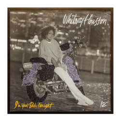 "Glittered Vintage Whitney Houston I'm Your Baby 12"" Single - Glittered record album. Album is framed in a black 12x12"" square frame with front and back cover and clips holding the record in place on the back. Album covers are original vintage covers."