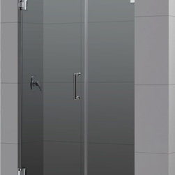 DreamLine - DreamLine SHDR-23467210-01 Radiance 46in Frameless Hinged Shower Door, Clear 3/8 - The Radiance shower door shines with a sleek completely frameless glass design. Premium thick tempered glass combined with high quality solid brass hardware deliver the look of custom glass at an incredible value. 46 in. W x 72 in. H ,  3/8 (10 mm) thick clear tempered glass,  Chrome or Brushed Nickel hardware finish,  Frameless glass design,  Out-of-plumb installation adjustability: No,  Fully frameless glass hinged shower door design,  Solid brass wall mount self-closing hinges and wall brackets,  Precise width measurement of finished opening required,  Door opening: 23 in.,  Stationary panel: 22 in.,  Reversible for right or left door opening installation, Brass