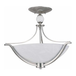 """Triarch - Triarch Halogen Vi Halogen """"6"""" Semi Flush X-SB-66492 - Halogen VI - Beautiful Hand-Blown White Art glass, set in to cool Brushed Steel, is the key to this stunning look."""