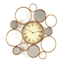 """Multi-Circle Wall Clock - With modern flair and a whimsical design, you'll never be at a loss in telling the time with the Multi-Circle wall clock.  This clock is crafted of metal with a gold lacquered, multi-circle frame and 5 mirror inserts.  It measures 30""""Lx30""""H."""