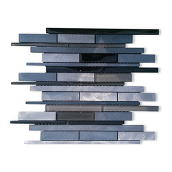 GlassTileStore - Industrial Wetlands Aluminum Mosaic Tile - Industrial Wetlands Aluminum Mosaic Tile          This clean geometric design with the combination of aluminum silver and glass is chic and visually striking. The tile will provide any room with a sleek, stylish and contemporary appearance. This is a great alternative to use for in a kitchen backsplash, feature wall or as decorative borders.          Chip Size: Random    Color: Silver Aluminum, Black, Ash Gray and Light Gray    Material: Glass and Aluminum   Finish: Polished and Brushed   Sold by the Sheet - each sheet measures 12x12 (1 sq. ft.)   Thickness: 8mm   Please note each lot will vary from the next.            - Glass Tile -