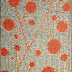 b.b.begonia - Area Rug/Patio mat- 4'x6'- Cotton Ball, Reversible Design in Orange and Black - Cotton Ball