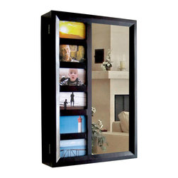 Proman Products - Proman Products Bellissimo Venice Wall Mount Jewelry Armoire in Mahogany - Bellissimo collection, Venice wall mount jewelry armoire, 6 picture holder and a mirror on door. Picture size 3X5. 12 drawers to store and organize your items, mahogany finish