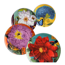 Waechtersbach - Impressions Assorted Plates, Set of 4 - When you can't decide on just one pattern why not go for a mixed set of plates? Enjoy a unique floral pattern for every meal with this set of four porcelain dishes, or let your guests pick their favorite. You can't go wrong with any of these patterns depicting bits of whimsy from the garden.