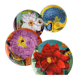 Waechtersbach - Impressions Set of 4 Assorted Plates Impressions - When you can't decide on just one pattern why not go for a mixed set of plates? Enjoy a unique floral pattern for every meal with this set of four porcelain dishes, or let your guests pick their favorite. You can't go wrong with any of these patterns depicting bits of whimsy from the garden.