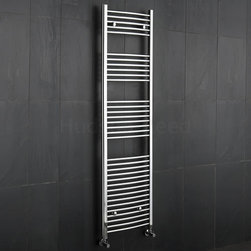 Hudson Reed - Premium Chrome Curved Heated Bathroom Towel Radiator Rail 19.75 x 71 - This tall, curved Ladder Style Heated Towel Rail, with a high quality chrome finish, produces a heat output of 553 Watts (1,886 BTUs), enough to keep your towels warm and heat a small bathroom or cloakroom.Supplied complete with a fixing pack for wall mounting, this minimalist towel rail has 34 curved horizontal rungs and provides a functional and stylish centrepiece to any contemporary setting. This product is from the Kudox Premium range and has 0.86 bars which give both a higher output and improved aesthetics. Manufactured by an ISO 9001 registered company.Suitable for closed loop heating systems, the 71 x 19.75 Kudox Heated Bathroom Towel Rail connects to your heating system via the radiator valves included (please choose angled or straight). Kudox Chrome Curved Heated Bathroom Towel Radiator Rail 71 x 19.75 Details    Dimensions: (H x W x D) 71 (1800mm) x 19.75 (500mm) x 3 (75mm) Output: 553 Watts (1,886 BTUs) Number of cross-bars: 34 with a thickness of 0.86 (22mm), divided into 4 sections of 5, 6, 8, 15 Pipe Centres: 18.1 (460mm) Fixing Pack Included Suitable for bathroom, cloakroom, kitchen etc. Expertly plated with high quality 62.5 micron chrome on copper plated mild steel, with swagged oven brazed joints. Tested to BS EN442 - 140 psi maximum working pressure 5 Year Guarantee (12 months for surface finish) Please note: Radiator valves included, please choose straight or angled radiator valves.  Buy now, to transform your bathroom, at an affordable price. Please Note: Our radiators are designed for forced circulation closed loop systems only. They are not compatible with open loop, gravity hot water or steam systems.