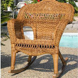 Casual Decor by Kaven - Sahara Rocker with Rave Cherry Cushion - Walnut - Traditional styling. UV protected resin wicker over a powder coated steel frame. Rocking Chair is available