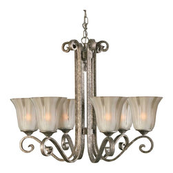 "Uttermost - Uttermost Lyon 6-Light Chandelier 28.875 x 23.75"" - Combining warm silver and flowing etched glass, the Lyon collection is reminiscent of the Old World art of metal forging and blown glass.Designer: Francois DegueurceWattage: 100WDimensions: 28.975"" width by 23.75"" heightMaterial: metal/glass"