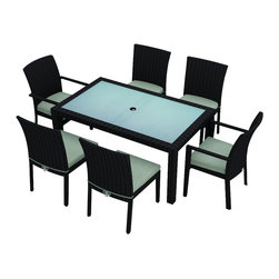 Harmonia Living - Urbana 7 Piece Modern Outdoor Dining Set, Spa Cushions - There's nothing better than dinner al fresco unless you don't have attractive, functional outdoor furniture. This seven-piece set is both, with chairs of corrosion-resistant aluminum and resin wicker meant to withstand the elements. The table is made of frosted, tempered glass with a pre-cut hole so you can easily add an umbrella. The set includes one table, two armchairs and four armless chairs. The reinforced seat cushions come in five colors.