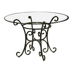 Pastel - Magnolia 48 in. Round Dining Table with Bevel Glass Top - Chairs not included