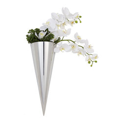 Torre Tagus - Cone Hanging Wall Vase - Sleek water-tight tapered cones for dramatic effect. Stainless steel.  Flat back.  Hole in back for hanging.