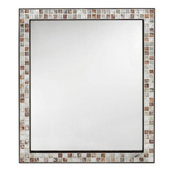 Home Decorators Collection - Briscoe Mirror - The Briscoe Mirror features a beautiful mosaic of marble tiles that are sure to add a sophisticated touch to your home. Add it to your bath, kitchen, or entryway for a clean, transitional look you're sure to love. Order yours today! Wood cleat on back provides easy hanging. Glass is non-beveled.