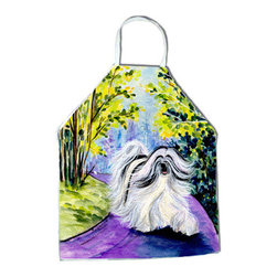 Caroline's Treasures - Tibetan Terrier Apron SS8643APRON - Apron, Bib Style, 27 in H x 31 in W; 100 percent  Ultra Spun Poly, White, braided nylon tie straps, sewn cloth neckband. These bib style aprons are not just for cooking - they are also great for cleaning, gardening, art projects, and other activities, too!