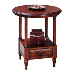 Leick Furniture - Leick Furniture Claridge Round Storage End Table in Burnished Cherry - Leick Furniture - End Tables - 10808 - The Leick Claridge Round Storage End Table offers a soft delicately scaled form with blackened birdcage drawer pulls lending an airy serenity to your living space. Standing columns frame a convenient display surface to store your magazines books and favorite decor items. The attractive ball and spindle foot design offers style and interest and a large storage drawer provides easy accessibility for your  tv guide and remote controls while keeping the top of your end table clear of clutter. The gorgeous hand applied multi-step burnished cherry finish lets the natural beauty of the wood shine through and the solid hardwood and wood veneer construction ensure many years of use. Match The Leick Round Storage End Table with coordinating coffee table and sofa table to transform your living room from ho hum to a space of style and beauty.