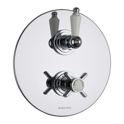 Hudson Reed - Traditional Beaumont 1 Outlet Twin Shower Valve With Round Plate & Ceramic Lever - The Hudson Reed Beaumont thermostatic twin shower valve with round plate is perfect for enhancing your traditional bathroom. This shower valve will supply water at a pre-set temperature to either a fixed shower head, shower handset or tub filler. Made in Great Britain from brass with a chrome finish, this high quality thermostatic shower valve incorporates ceramic disc technology and an anti-scald device for a safer showering experience.