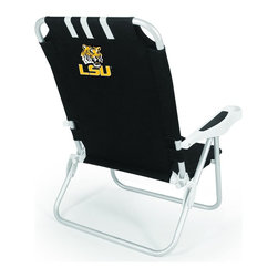 "Picnic Time - Louisiana State University Monaco Beach Chair Black - The Monaco Beach Chair is the lightweight, portable chair that provides comfortable seating on the go. It features a 34"" reclining seat back with a 19.5"" seat, and sits 11"" off the ground. Made of durable polyester on an aluminum frame, the Monaco Beach Chair features six chair back positions and an integrated cup holder in the armrest. Convenient backpack straps free your hands so you can carry other items to your destination. Rest and relaxation come easy in the Monaco Beach Chair!; College Name: Louisiana State University; Mascot: Tigers; Decoration: Digital Print"