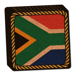 """Made on Terra - Flag of South Africa Thin Cork Coaster Set of 4 - You're just cleaning up after your epic party when you realize it... something's different. Unlike all those other times, you're not mopping up cup condensation from your counters and tables. This time, everyone used a coaster. Everyone. Maybe it's because you handed out a coaster with every glass. No. You've tried that before. No, this time it's because of the actual coasters. You found the cutest Made On Terra printed cork coasters. You love that everyone commented on how unique they were,  from the light-weight, thin cork material to the printing that creates a cool and subtle effect. Plus, they're really absorbent, but dry quickly. And they're made from an eco-friendly, sustainable resource, so that makes you feel pretty great, too. Choose from Made on Terra's many fabulous cork coasters. Measures 4"""" x 4"""" x 1/8"""". Made of thin cork. Super cute and nicely absorbent. Sold in sets of four."""