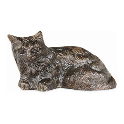 Achla - Aluminum Mini Cat Garden Statue w Graphite Po - Lifelike cat statue nestles comfortably amidst plants making your garden more inviting.  Realistic cat statue adds an unexpected touch of character to your outdoor space.  Lightweight aluminum body enables you to reposition statue frequently, for added realism.  Graphite powder coat finished Aluminum statue makes a long-lasting outdoor accessory.  Brown, black, silver & gray creases seem to make statue spring to life. * Graphite Powder Coat Finish. 4.5 in. L x 2.5 in. W x 2.25 in. H