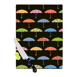 "Kess InHouse - Heidi Jennings ""Umbrella"" Multicolor Cutting Board (11"" x 7.5"") - These sturdy tempered glass cutting boards will make everything you chop look like a Dutch painting. Perfect the art of cooking with your KESS InHouse unique art cutting board. Go for patterns or painted, either way this non-skid, dishwasher safe cutting board is perfect for preparing any artistic dinner or serving. Cut, chop, serve or frame, all of these unique cutting boards are gorgeous."