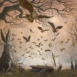 "Robert Bissell - ""Exodus"" 2013 Fine Art Original Oil Painting - ""I love owls. Mysterious, quiet beings. They are always surprising us. Often, great-horned owls with 6 ft wingspans swoop down at my car as I crossed the coastal range at night. The little owl nest I found in a rotten tree by mistake one day. I scared them but they also surprised me. I hope I put them back OK. The idea of a flock of owls is not really realistic but for these rabbits I have tried to make it as real as possible."""