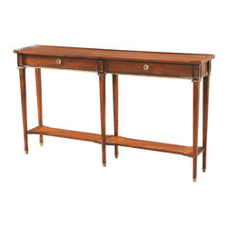 Sherrill Occasional - Sherrill Occasional Console 730-712 - This console represents that hard to find long narrow variety. Two working drawers, shaped shelves, and ferrules on legs.