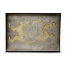 Belle & June - Soft Gold Monkey Big Tray - Monkey see, monkey do delightful things in your decor! This handmade lacquered tray is the perfect piece to serve guests, hold treasures or simply sit out on display.