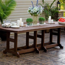Orchid Polywood Outdoor Dining Set - This polywood outdoor table is mildew resistant, termite resistant and requires no maintenance like painting or replacing pieces. This Amish Polywood Patio Set is built by skilled Amish woodworkers in Ohio who make quality furniture, no matter what material they use. Choose from a variety of color choices to fit any décor.