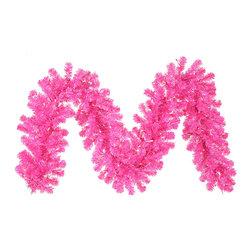 "Vickerman - Hot Pink Garland 70Pink 220T (9' x 12"") - 9' x 12"" Hot Pink Garland  70 Pink Mini Lights, 220 PVC Tips, Metal Stand"