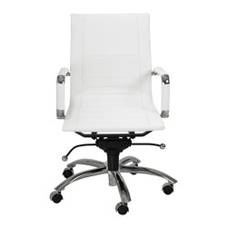 Eurostyle - Owenge Low Back Office Chair-White/Chrome - This striking office chair features padded panels that cushion your backside. Don't worry — your lower back and shoulders haven't been forgotten — thanks to the larger panels that have been thoughtfully incorporated into the design.