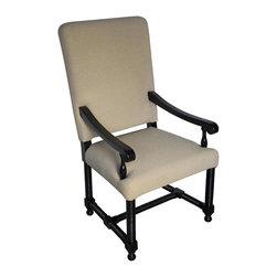 Noir - Noir - Spanish Arm Chair, Distressed Black - Distressed Black Birch, with Linen