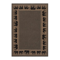 """Couristan - Recife Elephant Rug 1588/1021 - 8'6"""" x 13' - These weather-defying area rugs are suitable for indoor and outdoor use. You'll love the way they color-coordinate with today's most popular outdoor furniture pieces. The collection's naturally inspired color palette will provide a warmer and more inviting appearance for patio decks and stone entryways."""