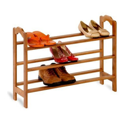 "Honey Can Do - Honey-Can-Do 3-Tier Bamboo Shoe Rack - Made from sustainable materials, this environmentally friendly bamboo shoe rack is the perfect combination of function and style. The gorgeous, natural finish is a stunning addition to any decor, while the structure and design displays 9-pair of shoes beautifully. A 8.75"" depth makes it suitable for most shoe sizes; even down to a women's 6 1/2."
