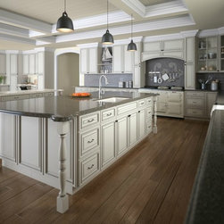 "Signature Vanilla 24x84 Decorative Panel For A 24x84 Wall Pantry - The Signature Vanilla kitchen cabinet collection creates a traditional and inviting setting to your kitchen. These cabinets are both elegant and functional! The light tone cabinets are well-crafted with a variety of features and options. If you're looking for a sleek new kitchen than these are the cabinets for you! Decorative panel for the side of a 24"" wide by 84"" high pantry cabinet. Comes as a 2 piece door set."
